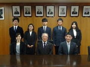 Exchange students made a courtesy visit to the President, Dr. Yagi